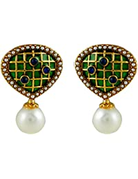 Gehnamart Yellow Gold Plated Pearl With Enamel Designer Stud Earring