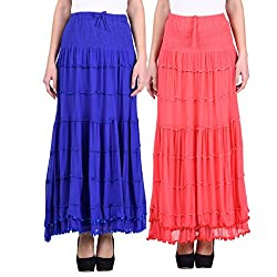 NumBrave Blue & Pink Long Flared skirt Combo