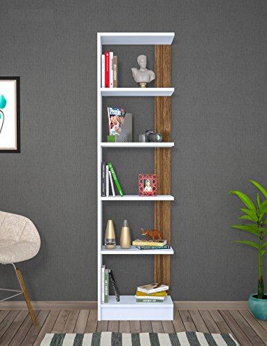 PUPIS Libreria - Bianco / Noce - Scaffale per libri - Scaffale per ufficio / soggiorno dal design moderno