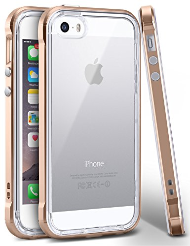 iPhone SE Case, Ansiwee Reinforced PC Frame Highly Durable Crystal Slim Shock-Absorption Flexible Soft Rubber TPU Bumper Hybrid Protective Case for Apple iPhone SE / iPhone 5s 5 (Gold) (Slim Iphone 5 Bumper compare prices)