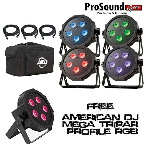 Adj Products Mega Flat Tri Pak Bright Tri Colored Led + Free American Dj Mega Tripar Profile Rgb (Prosoundgear Authorized Dealer)