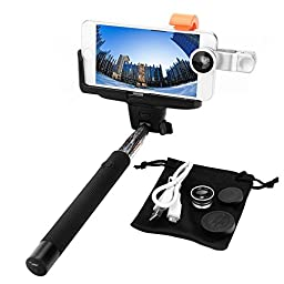 Dealgadgets 3360879 Built-in Bluetooth Remote Shutter Extendable Self-portrait Monopod for iPhone 6,6 Plus,5,5s,5c, Samsung Galaxy S6,S6 Edge,S5 Bundle With Clean Cloth and Lens