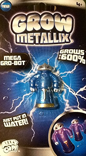 Grow Metallix Mega Gro-Bot ~ Metallic Blue ~ 600% Growing Robot ~ Gag Toy ~ Water Expandable Toy
