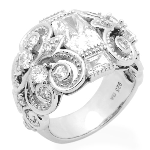 Sterling Silver Engagement Ring Wedding Ring 2ctw Cubic Zirconia Designer's Celtic Ring Size 7