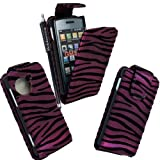 MOBILEEXTRALTD® For LG Viewty Snap Gm360 Purple Zebra Embossed Printed Pouch PU Leather Magnetic Protected Flip Case Cover + Free Stylus