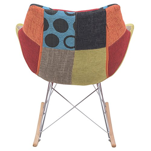 LeisureMod Willow Patchwork Fabric Eiffel Rocking Chair, Multicolor 3