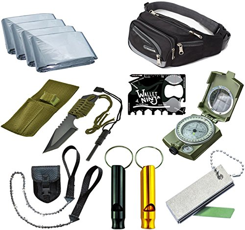 Outdoor Emergency Survival Camping Kit, Includes Tanto Knife, Magnesium fire starter, Mylar Blankets, Military Compass, Pocket Chain Saw, Aluminum Whistle,