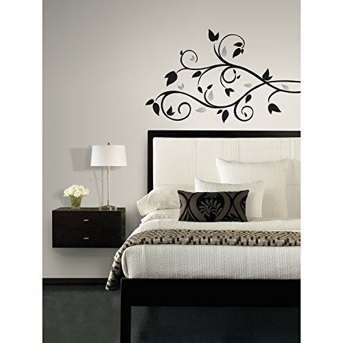 RoomMates RMK1799SCS Scroll Branch Foil Leaves Peel and Stick Wall Decals - 1