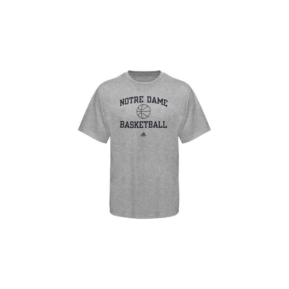 adidas Notre Dame Fighting Irish Ash Collegiate Basketball T shirt