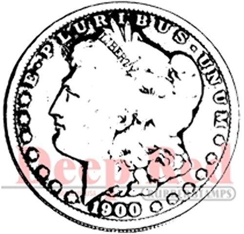 Deep Red Stamps Silver Dollar Rubber Stamp