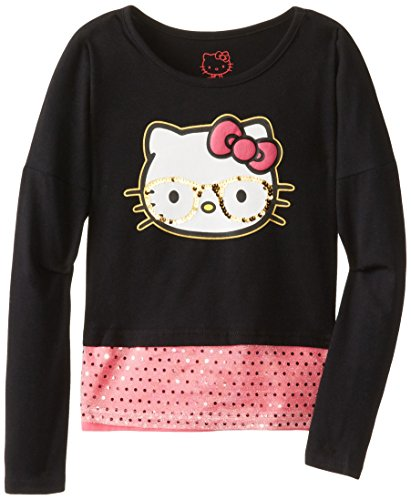 Hello Kitty Big Girls' Smart Kitty Twofer Top, Anthracite, 10 front-1022362
