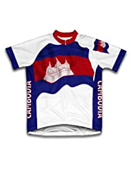 Cambodia Flag Short Sleeve Cycling Jersey for Women
