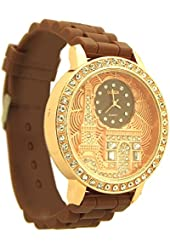 Geneva Women's Eiffel Tower Rhinestone Metal Watch brown and rose gold tone - 11