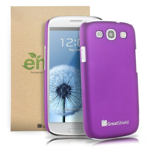 GreatShield Guardian HQ Series Slim Fit Snap On Rubberized Hard Protector Case for Samsung Galaxy S3 S III (Purple)