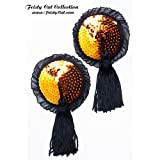 "Nippel Pasties mit Tassels und R�schensaum ""Peekaboo"", orange / schwarzvon ""Feisty Cat"""