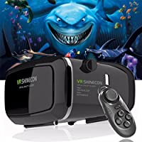 """VR Headset Glasses Virtual Reality Mobile Phone 3D Movies for iPhone 6s/6 plus/6/5s/5c/5 Samsung Galaxy s5/s6/note4/note5 and Other 4.7""""-6.0"""" Cellphones + Remote Controlle by Jasmonic"""