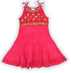 EIMOIE Girls Embroidered Gathered Dress (Pink)
