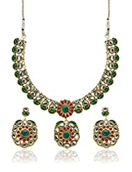 Utsokt Red Brass / Kundan Necklace Set For Women (1ON1N620)