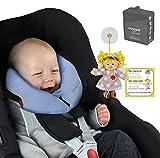 SANDINI SleepFix© XS - Baby Sicherheits- Schlafkissen Auto/Fahrrad - NEUE PASSFORM - Komplett Set BLAU inkl. GRATIS-TASCHE