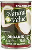 Natural Value Organic Coconut Milk, 13.5-Ounce Cans (Pack of 12)