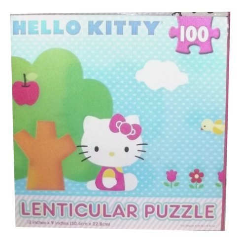 Hello Kitty 100 piece Blue Lenticular Puzzle:Hello Kitty Sitting By Tree