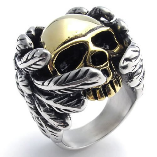KONOV Jewelry Stainless Steel Band Gothic Wing Skull Biker Men's Ring, Color Gold Silver - Size 7