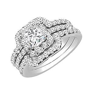 Sterling Silver Bridal Set Princess Cut Cubic Zirconia Triple Band Engagement Wedding Ring - 10