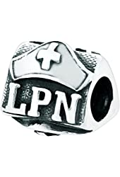 Genuine Zable (TM) Product. 925 Sterling Silver LPN Nurses Cap Bead Charm. 100% Satisfaction Guaranteed.