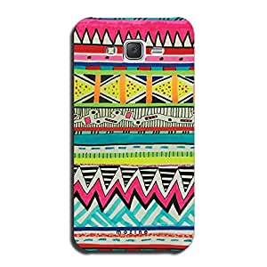Mozine Aztec Green Blue Pattern printed mobile back cover for Samsung galaxy j7