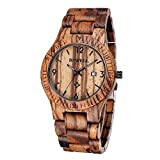 SILILUN® Coffee Color Maple Wooden Men watches Quartz Analog Watch With Calendar
