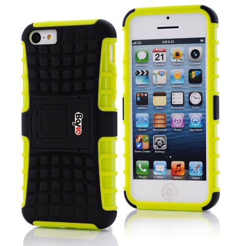Bayke Brand / Apple Iphone 5C 2-Piec Dual Layer Tire Tread Combo Heavy Duty Rugged Matte Skidproof Hard Protective Case Cover With Kickstand (Light Green Tpu Inner)