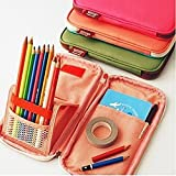 【2way】〈5color〉 ペンスタンドになるペンケース 筆箱 ペンケース 絵を書く便利 スッキリ収納 大容量 可愛いキャンディカラー (ローズ)