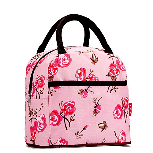 Pink Flower Colorful Vertical Style Square Polyester Lunch Box Package Luxury Women Lady Girl Message Shopper Hobo Tote Shoulder Bag Purse Satchel Handbag - 1