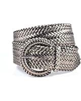 Women's Fashion Web Woven Braid Faux Leather Metallic Wide Belt 15 Colors