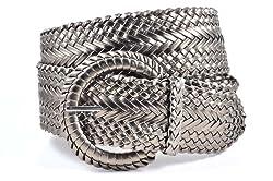 Ladies Fashion Web Braid Faux Leather Woven Metallic Wide Belt 22 Colors (XL (47