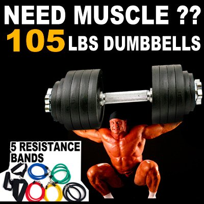 105lbs adjustable dumbbell set - One Pair of Adjustable Dumbbells Kits - 105 Lbs (52.5lbs X 2pc) + Free Resistance Band kit