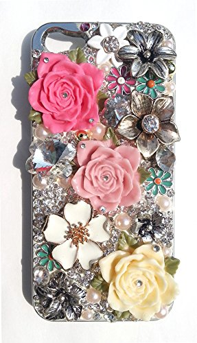 Iphone 5 Case, Apple Iphone 5, 5S Case, Bling Crystal Multi Flower Pattern Mobile Cover For Rhinestone Back Case