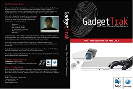 GadgetTrak Verey: Mac Anti-Theft Software