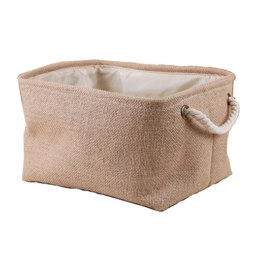 Storage Basket Natrual Eco-friendly Jute Storage Bins Waterproof Coating Laundry Organizer(square) (Lined Wicker Basket With Lid compare prices)
