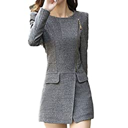 Partiss Womens Slim Fit Tweed Coat,Medium,Gray