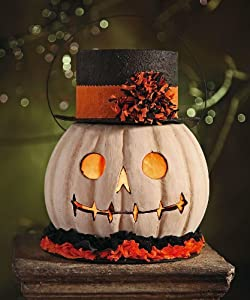 Lighted Halloween Decoration - Lighted Pumpkin Ghost Container - Bethany Lowe Designs