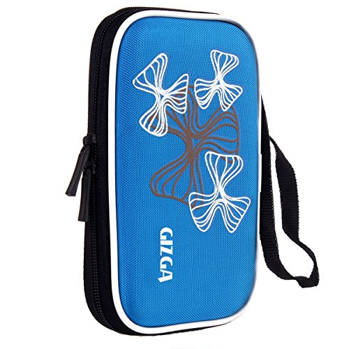 GIZGA Branded 2.5 inch Wavy Graffiti Series - Color: Sky Blue; External Portable Hard Disk Drive Carry Cover Protector/ Pouch / Bag/ HDD Case