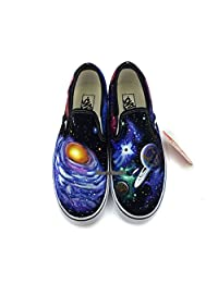 Slip On Vans Space Galaxy Nebula Shoes Men Women Hand Painted Black Canvas Shoes