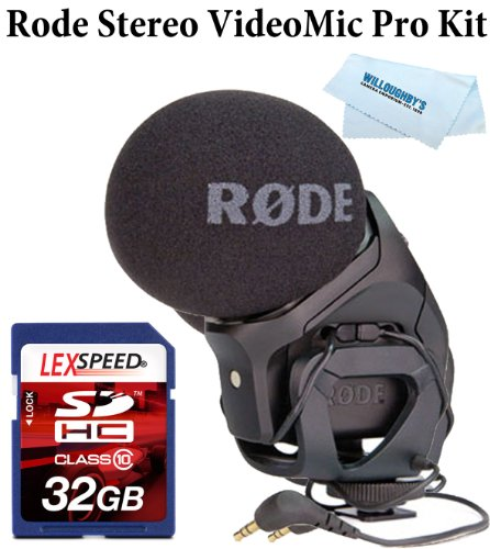 Rode Microphone For Nikon D300, D7000, D90, D200, D100 - Rode Stereo Videomic Pro + Lexspeed 32Gb Sdhc Class 10 Memory Card + Cleaning Cloth