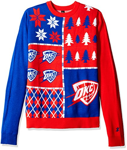 KLEW NBA Oklahoma City Thunder Busy Block Ugly Sweater, X-Large, Blue