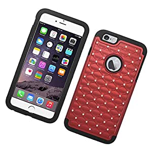 Eagle Cell Spot Diamond Hybrid Armor Protective Case for Apple iPhone 6 Plus - Retail Packaging - Black/Red