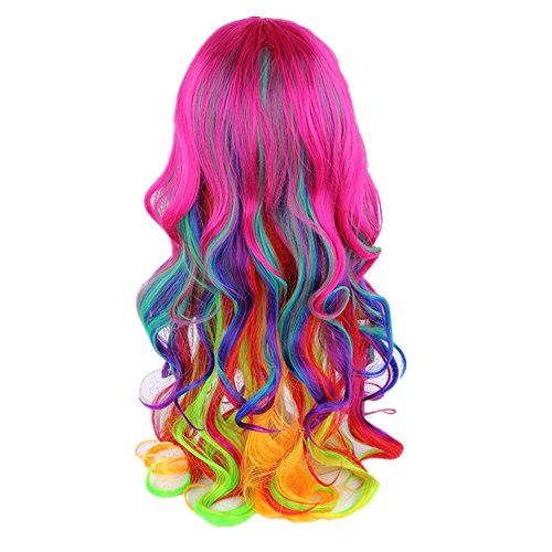 Ladies Multi-color Rainbow Wig