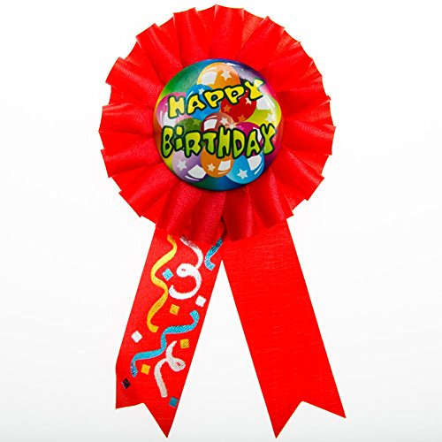 """Happy Birthday"" Rosette Ribbon Button - 1"