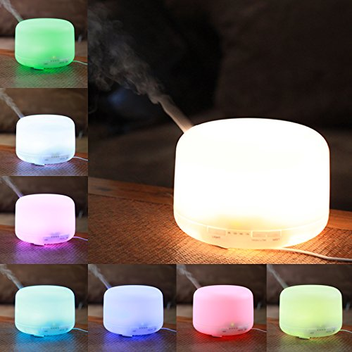 MIU COLOR® 500ml Aroma Diffuser Ultrasonic Humidifier LED Color Changing Lamp Light Ionizer