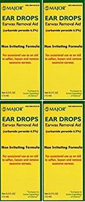 Ear Drops Earwax Removal Aid Carbamide Peroxide 6.5% Generic for Debrox - 0.5 oz. (15 ml) Per Bottle Pack of 4 Total 2 oz. by Major Pharmaceuticals